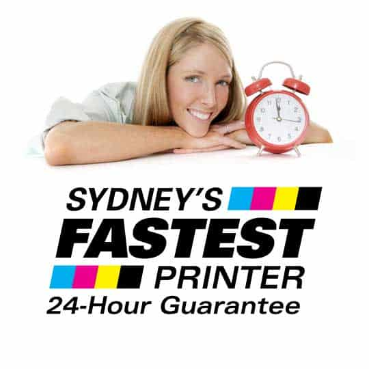 Photo of woman with clock, and logo for Sydney's Fastest Printer 24 hour print guarantee