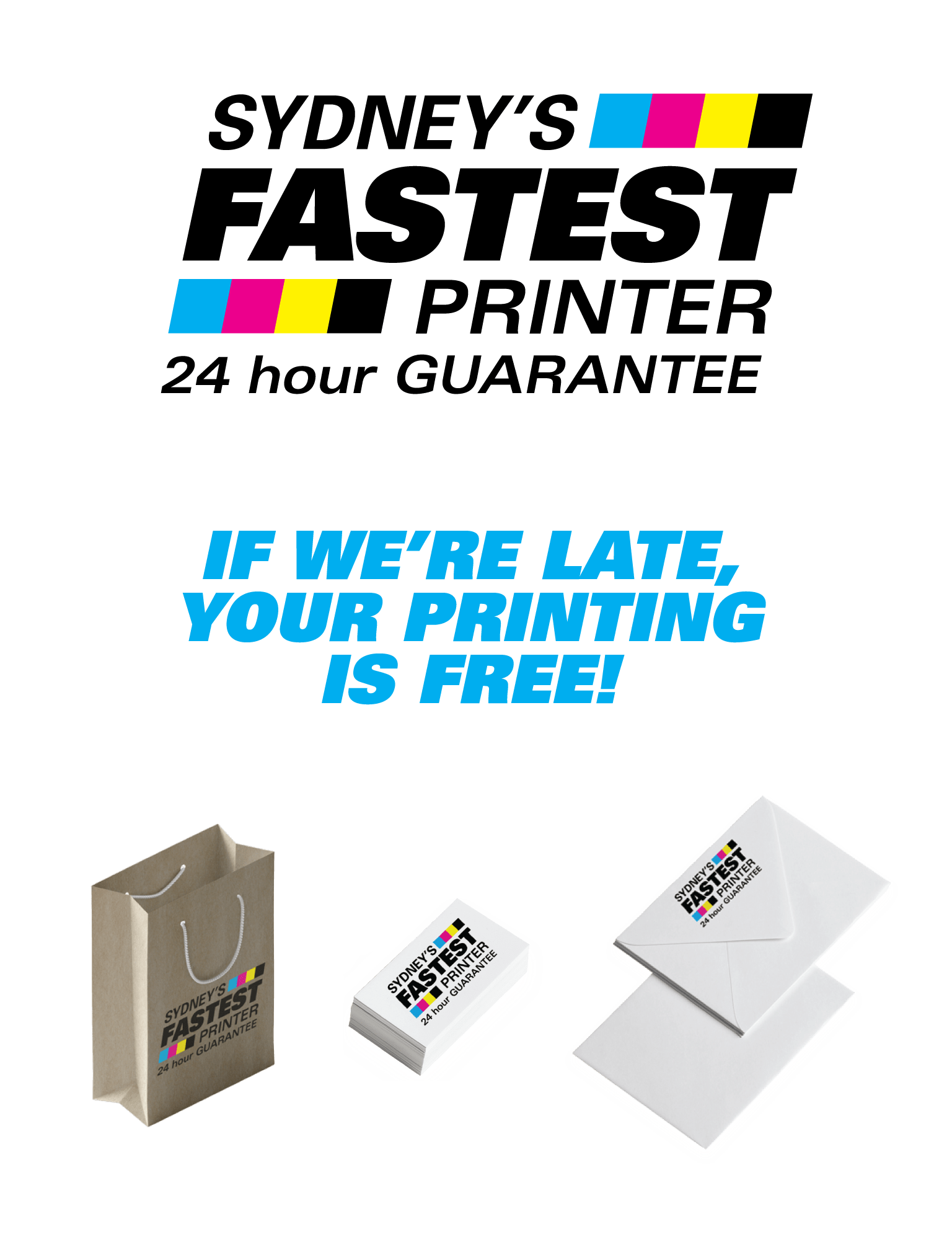 Logo of Sydney's Fastest Printer, 24 hour print guarantee