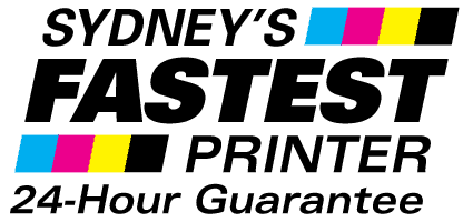 Logo for Sydney's Fastest Printer with 24 hour print guarantee