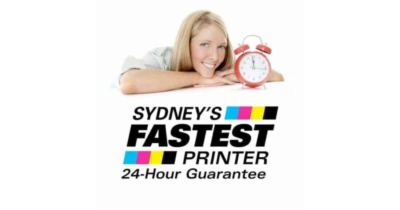 Woman with clock, logo for Sydney's Fastest Printer.
