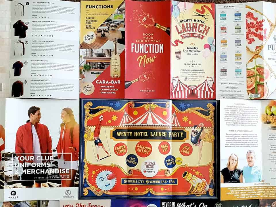 Photo of promotional flyers and pamphlets printed by Sydney's Fastest Printer