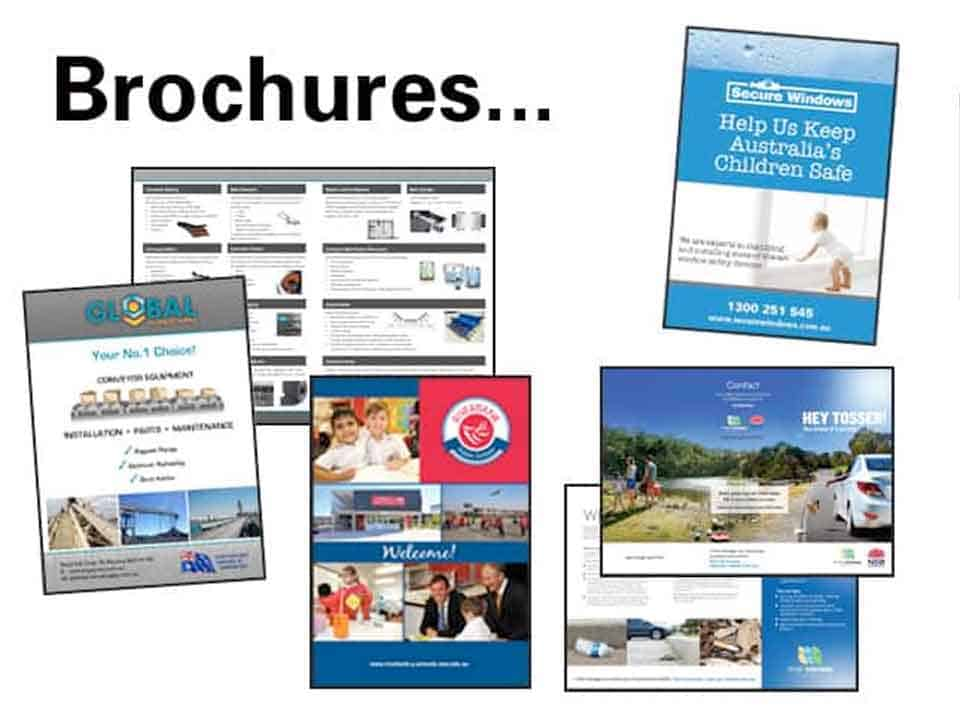 Collage of brochures printed by Sydney's Fastest Printer