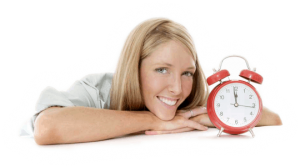 Photo of woman with clock, logo for Sydney's Fastest Printer 24 hour print guarantee
