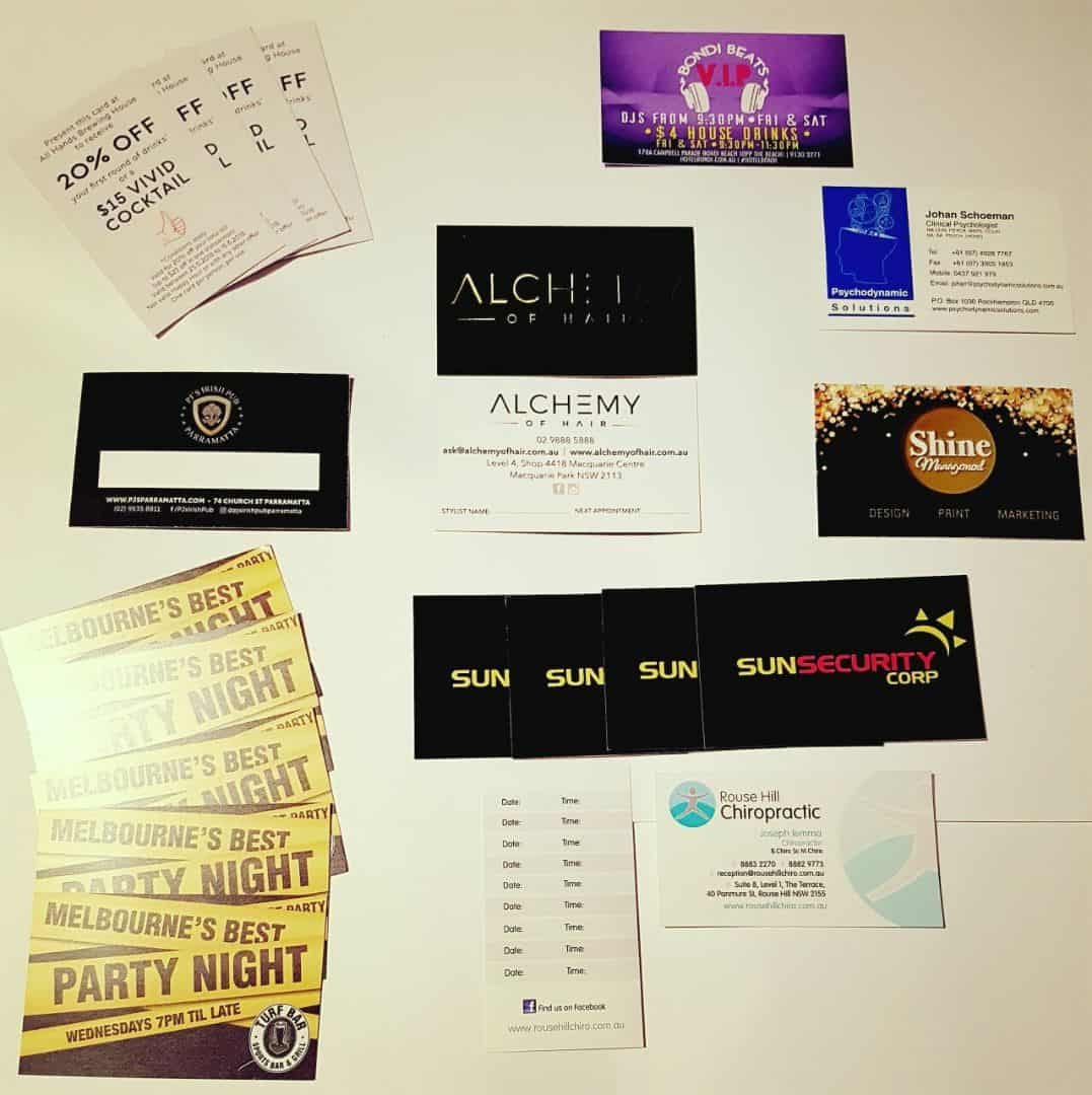 Photo of night club and hotel printing, menus, tickets, flyers designed and printed by Sydney's Fastest Printer