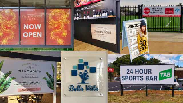 Photo collage of business signage produced by Sydney's Fastest Printer