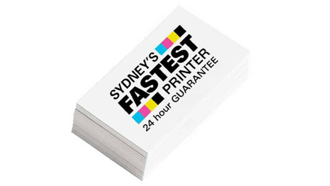 Photo of pile of business cards printed by Sydney's Fastest Printer